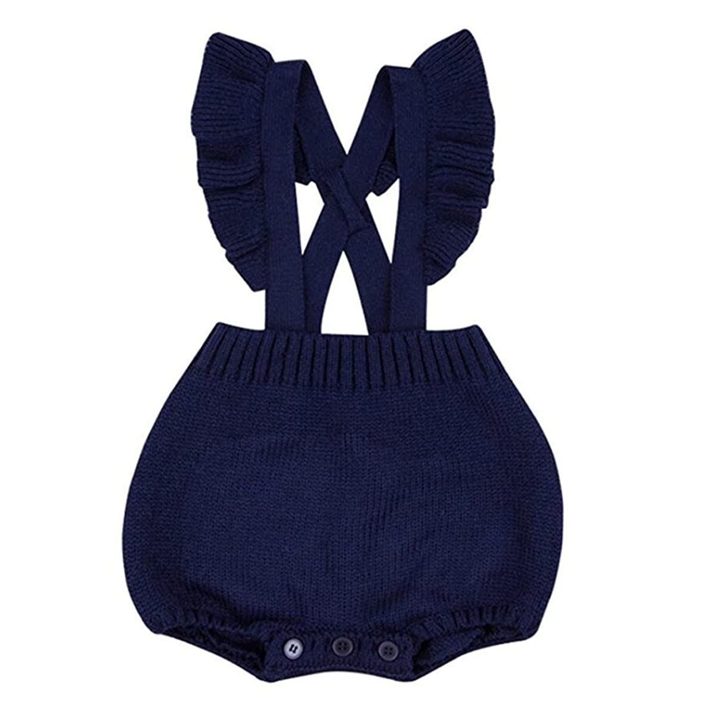 Colorful Childhood Newborn Baby Girls Knitted Romper Cross Bandage Ruffles Jumpsuit Infant Bodysuit Overalls