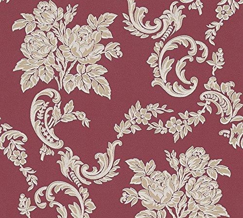 A.S. Création Strukturprofiltapete Belle Epoque Tapete mit Blumen floral romantisch 10,05 m x 0,53 m beige metallic rot Made in Germany 338674 33867-4