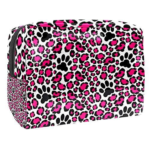 Trousse de toilette multifonction pour femme Motif léopard rose