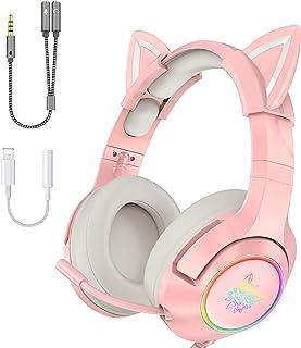 Onikuma Audifonos Gamer rosas con microfono y orejas de gato extraíbles (con 2 adaptadors incluidos) para PC, PS5, PS4, Xbox Series X, Xbox One, Nintendo Switch, con sonido envolvente y luz LED RGB