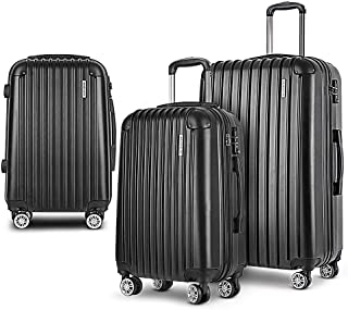 Wanderlite 20'' 24'' 28'' Hard Shell Suitcase Small Medium and Large Lightweight Roller Luggage Case, Black