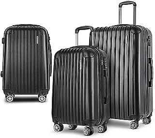Wanderlite Carry On Luggage 3 Prices Luggage Set Lightweight Suitcase Travel Hard Case-Black