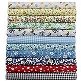 aufodara 11 piezas de tela de algodón por metro, paquete de tela, 50 x 50 cm, patchwork, telas para coser, tela de algodón puro, tela acolchada, manualidades, tela cuadrada de algodón (multicolor C)