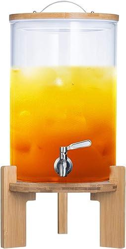 Dimono Distributeur de Boissons avec Robinet Anti-Goutte en Acier Inoxydable Distributeur d'eau en Verre avec Support...