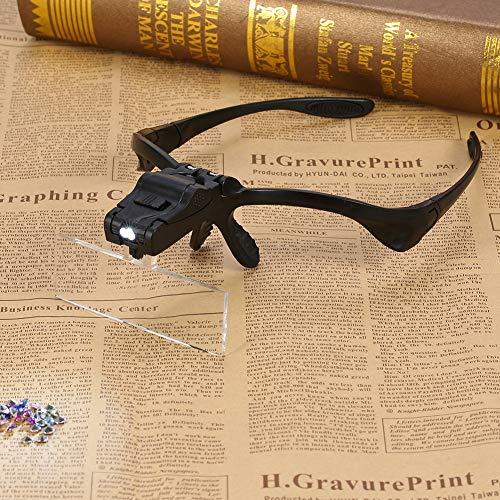avec loupe de bandeau de lentille de verre grossissant de 5 pièces, loupe de tête, pour l'extension de cils de réparation de montre de bijoutier