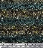 Soimoi Gelb Samt Stoff künstlerische Blüte Mandala