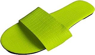 DAIFINEY Comfortabele platte strandsandalen voor dames, strandsandalen, comfortabele pantoffels, knuffelig, voor binnen en...