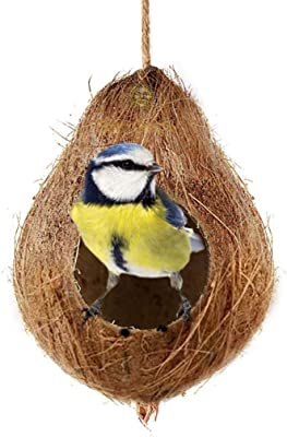 SunGrow Coco Shell Bird House, 4.5 Inches Shell Diameter with 2.5 Inches Opening Diameter, for Small to Medium Birds, Raw Coconut Husk, Sturdy Treat Dispenser, Includes Hanging Loop, 1 Piece