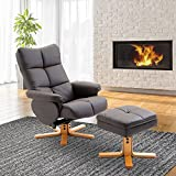 HOMCOM Leather Recliner and Ottoman Set Swivel Lounge Chair With Storage Footrest Wood