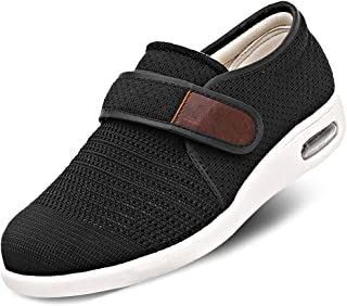 Mens Diabetic Edema Shoes Lightweight Walking Mesh Breathable Sneakers Strap Adjustable Easy On and Off for Elderly, Swollen Feet, Wide Feet, Plantar Fasciitis