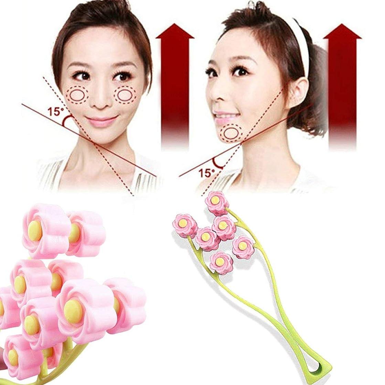 オペレーター天交渉するElegant Flower Shape Portable Facial Massager Roller Anti-Wrinkle Face Lifter Slimming Face Shaper Relaxation Beauty Tools