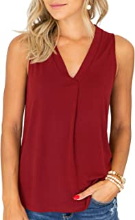 Tank Tops for Women V Neck Tunic Top with Legging Sleeveless Blouses Flowy Cami Shirts Ruched