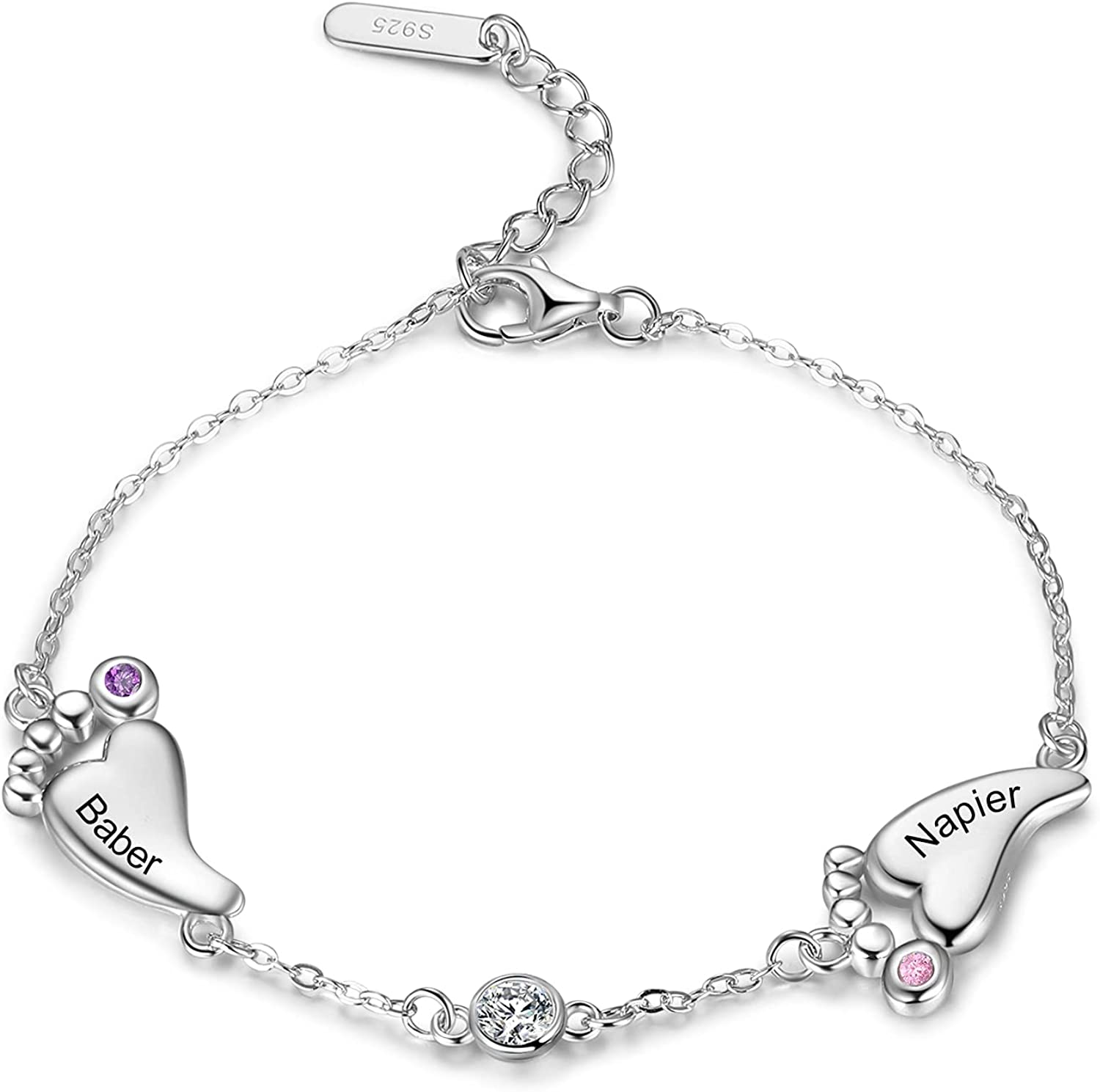 Personalized S925 Mother Babyfeet Bracelets with Simulated Birth