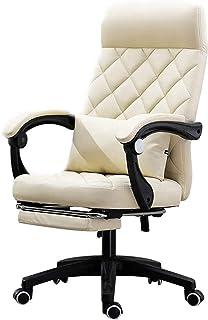 HIZLJJ Silla de tareas giratoria sillas de Oficina Silla ergonómica Escritorio Ejecutivo Silla de la PU de Cuero con Soporte Lumbar Apoyabrazos (Color : Beige)