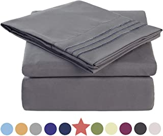 TEKAMON Premium 4 Piece Bed Sheet Set 1800 Bedding 100% Microfiber Polyester - Super Soft, Warm, Breathable, Cooling, Wrinkle and Fade Resistant - 10-16`` Extra Deep Pockets - Queen, Dark Grey