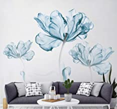 DERUN TRADING Flower Wall Decals Wall Decal Flower Blossom Wall Stickers Decor Sticker Blue Wall Decals Murals Home Decor ...