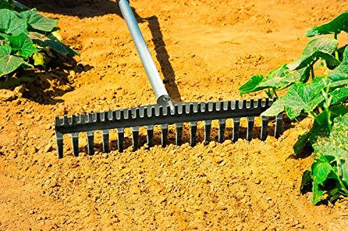 FairFox 2-in-1 Rechen 16 Zinken mit Teleskopgriff I Umweltfreundlich: Kunststoff zu 100% Recycled I Harke mit feiner und grober Seite I Laubrechen, Rasenrechen - geniales Gartenwerkzeug kann beides