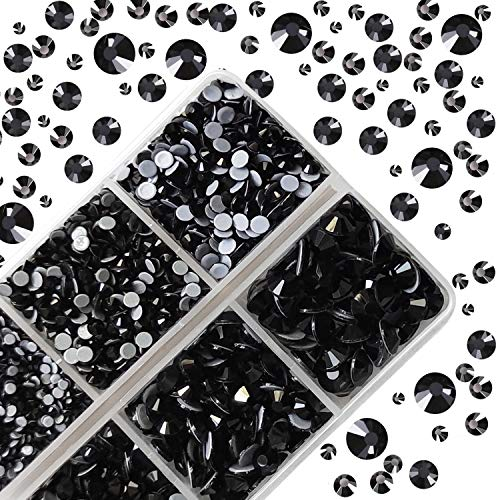 Qililandiy 4000pcs Hotfix FlatBack Nail Rhinestones Hot Fix Crystals Gems Round Glass Stones with 6 Mixed Sizes for for Nail Art Phone Decorations Makeup Clothes Shoes Black SS6-SS30(2.0mm-6.4mm)