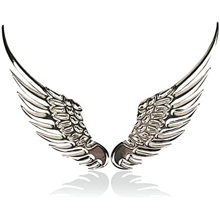 2pcs 3D Angel Wings Emblem Auto Car Badge Decals Styling Logo Stickers Motorcycle Accessories Label for Jeep Dodge Mercedes BMW Mustang Volvo Chevrolet Nissan Audi VW Ford Honda Toyota Jaguar (Silver)