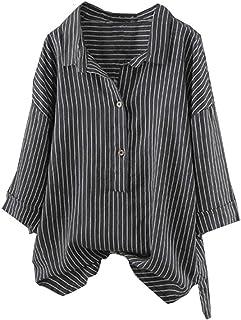 f4553a41c3c7c VJGOAL Femmes Rayé Haut Bouton Jusqu à Pull Cool T-Shirt Plus Size Tunique