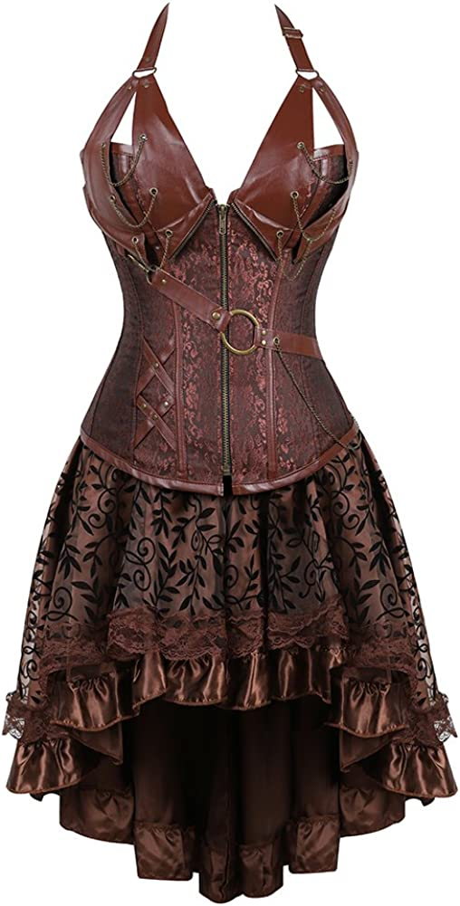 frawirshau Steampunk Corset Dresses for Steam Women Gothic Punk Max 67% OFF Large discharge sale