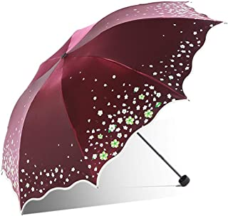 ZJHDX Umbrella- Folding Travel Sun Lightweight Umbrella Lady's Parasol Sunblock Protection Compact Size (Color : Red)