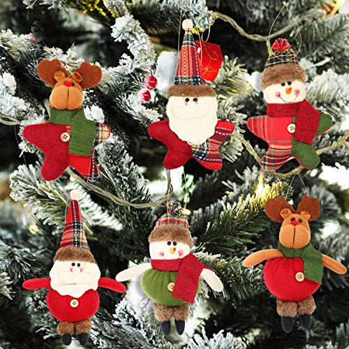 Aitey Christmas Plush Ornaments, Xmas Hanging Decoration Santa Clause Snowman Reindeer Doll for Christmas Tree Pendant Stocking Ball Bell Holiday Party Decor (6 Pack)