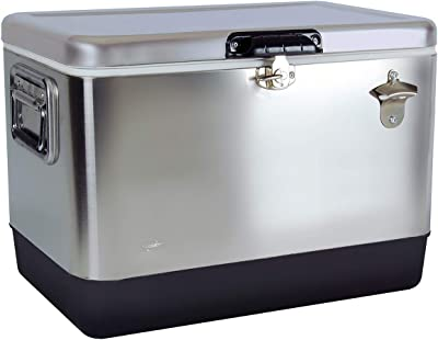 Koolatron KIC-54 Stainless Steel Ice Chest-(54 Quarts/51 Liters) 85 Can Cap, Silver