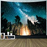 GUIFIER Forest Starry Tapestry Wall Hanging, 3D Printing Forest Tapestry with Galaxy Night Sky, Tapestry Decor for Dorm Living Room Bedroom - 80'L x 60'W