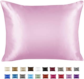 Luxury Satin Pillowcase for Hair – Queen Satin Pillowcase with Zipper, Pink (1 per Pack) – Blissford