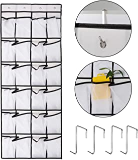 Penck Over The Door Shoe Organizer, 24 Large Mesh Pockets | Heavy Duty Breathable Fabric | Hanging Tidy Storage Rack | Han...