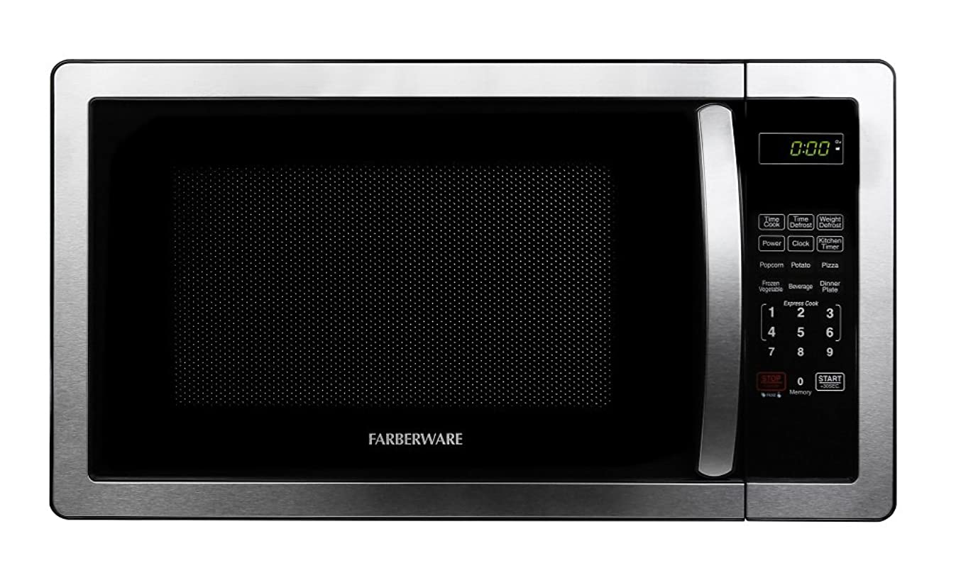Farberware Classic FMO11AHTBKB 1.1 Cu. Ft. 1000-Watt Microwave Oven with LED Lighting, Stainless Steel