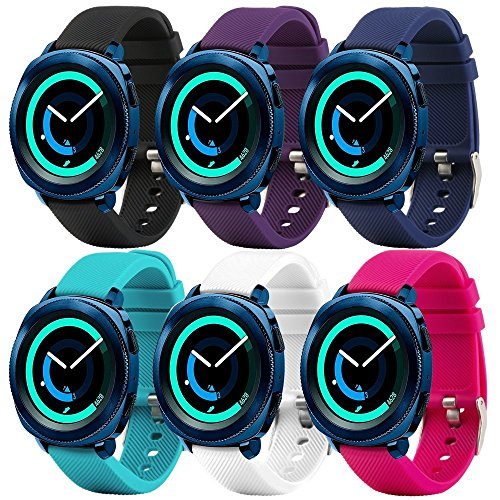 Correa de repuesto para smartwatch de Fit-power de 20 mm, compatible con Samsung Gear Sport, Samsung Gear S2 Classic, Huawei Watch 2 Watch y Garmin Vivoactive 3, Plain 6-colors