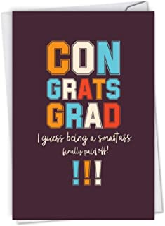 NobleWorks - Smartass - Funny High School, College Graduation Greeting Card with Envelope C6947GDG