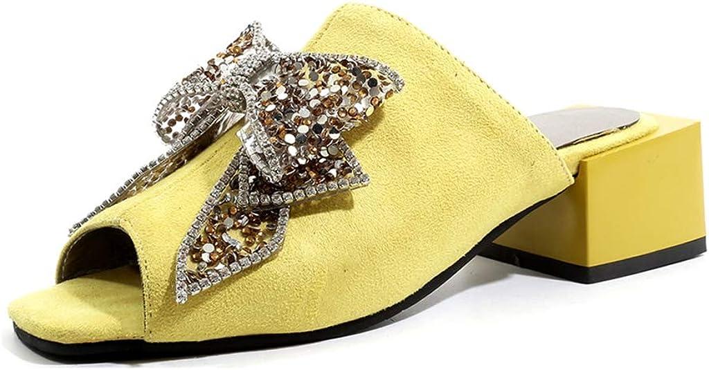MIOKE Women's Peep Toe Mules Heeled Sandals Glitter Squines Bow Suede Slip On Block Mid Heel Slide Sandal