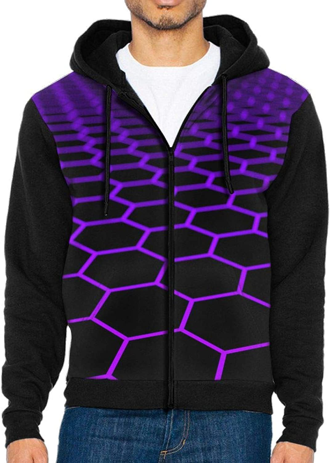 PIN Men's Purple Hexagon Hoodie Baseball Sweater