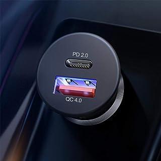شاحن سيارة، شاحن USB C لتوصيل الطاقة 2.0 وQC4.0 شاحن سيارة سريع 36 وات متوافق مع آيفون 11/11 برو (ماكس)/Xs(Max)/Xr/X/8، جا...