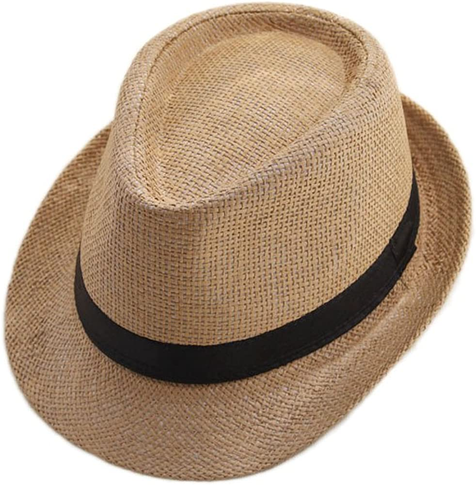 U2BUY Straw Sun Hat Women Men's Jazz Fedora Panama Beach Cap