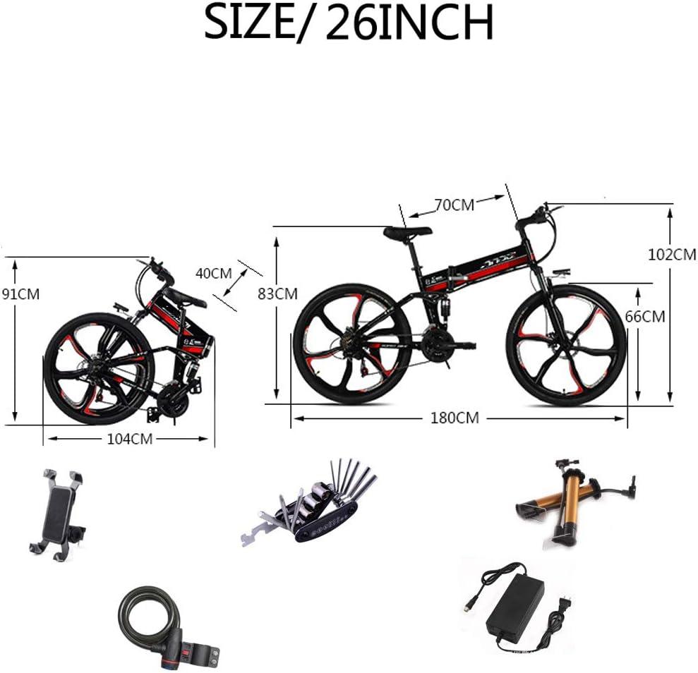 QYL E-bike, inklapbaar, van magnesiumlegering, voor mountainbikes, 48 V/10 Ah 350 W lithium-ion e-bike, voor outdoor, fietsen, reizen zwart.