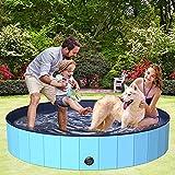 BOIROS Piscina Perros Grande 160 x 30cm, Piscina Plegable para Niños, PVC Antideslizante y Resistente al Desgaste, Piscinas Desmontables, Adecuado para Interior Exterior, Azul
