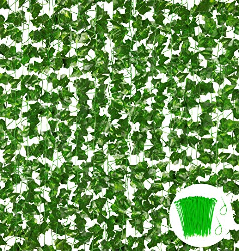 18 Pack 124Ft Fake Ivy Garland Vines for Room Decor, Artificial Hanging Plants Greenery Garland for Garden Home Kitchen Office Wedding Party Outdoor Indoor Wall Decor, Green