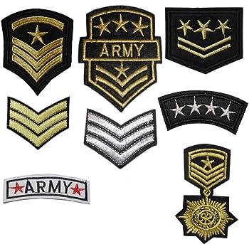 TENNER.London - Juego de 8 parches del ejército con motivo militar bordado para planchar o coser: Amazon.es: Hogar