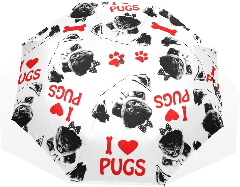 Anmarco Black Red and White Pug Dogs Travel Umbrella Compact Folding Sun & Rain Predection Windproof Portable Umbrella for Kids Women Men