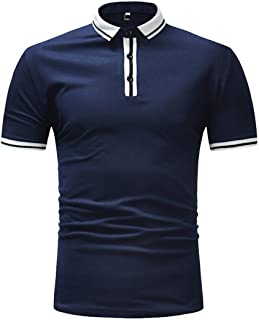 Men's Striped Polo Shirt, Slim Fit Stand Collar Short Sleeve Button Down Tops Shirts