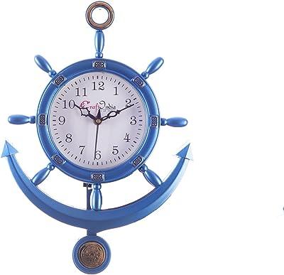 eCraftIndia Plastic Decorative Retro Pendulum Wall Clock (24.13 cm x 2.54 cm x 33.01 cm, Blue)