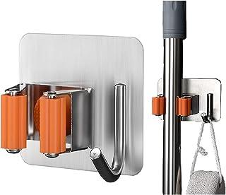 [Cusgod] モップホルダー ほうきモップ ホルダー収納 モップハンガー 壁掛けフック 強力粘着 痕跡なし 穴あけ不要 浴室 キッチン庭園 収納用 耐荷重3KG (オレンジ)