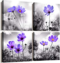 Canvas Wall Art for Bedroom Black and White Landscape Purple Flowers Bathroom Wall Decor for Kitchen Artwork 12