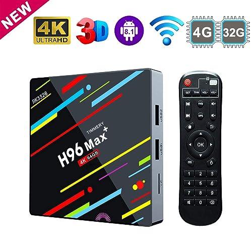 TV Box Android 8.1, 4 G 64 G ROM Linstar H96 MAX+ Smart TV Box