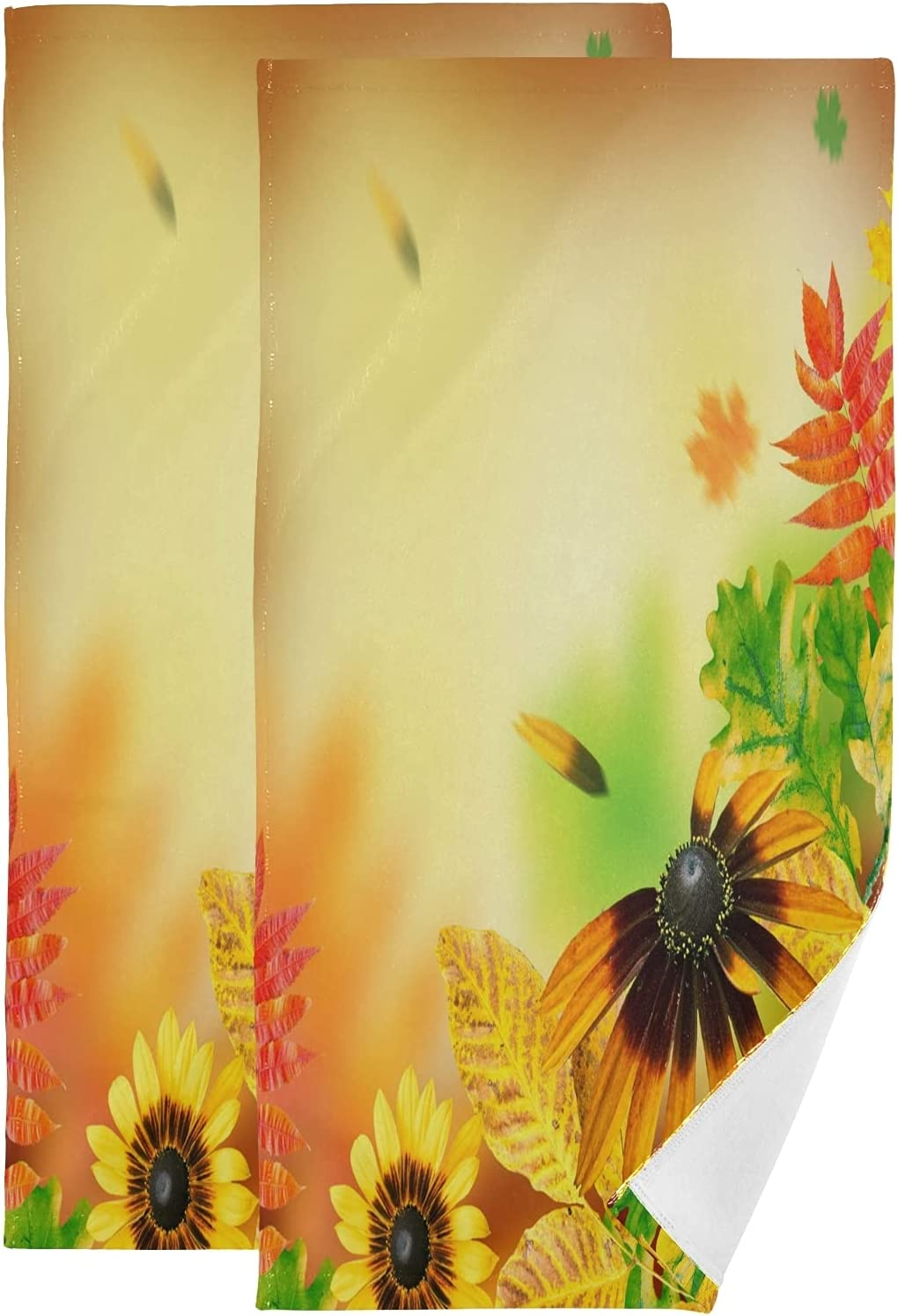 ALAZA Autumn High quality new Leaves On Yellow Hand Background Absorb Soft Towels Wholesale