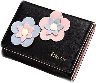 ミニ財布 レディース 人気 春財布 小さい 三つ折り カワイイ 高級PU 折り畳み お花飾り カード 多機能 カード入れ 小銭入れ 写真入れ コンパクト 軽量 ウォレット プレゼント ピンク ブラック グレー ブルー